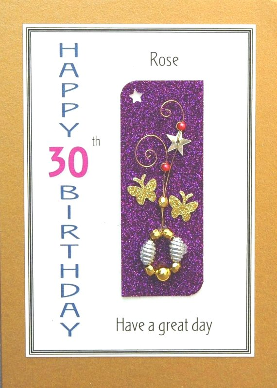 Personalised Birthday Card - Golden Butterflies