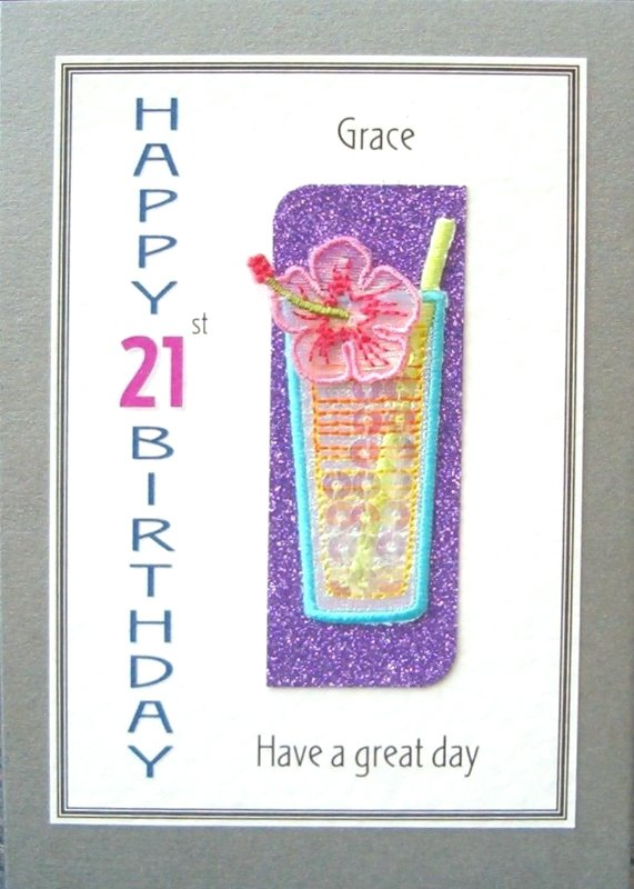Personalised Birthday Card - Cocktail with Hibiscus