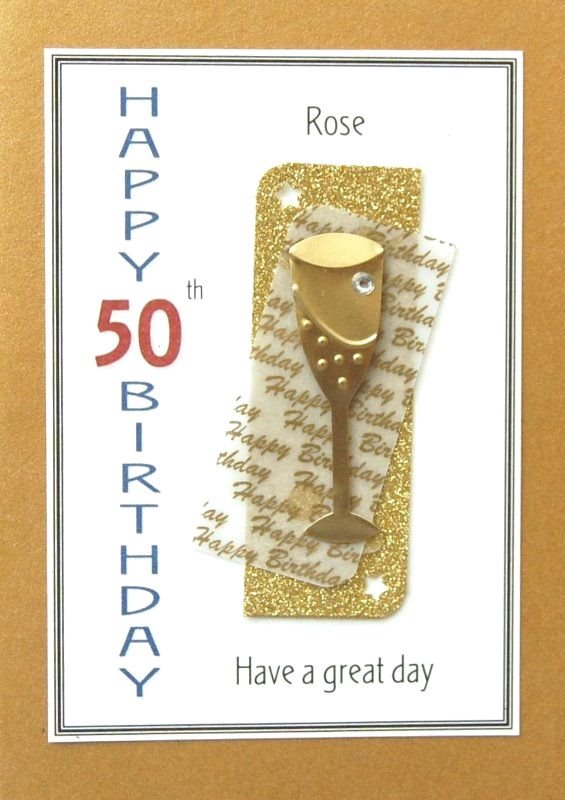 Personalised Birthday Card - Gold Champagne Flute