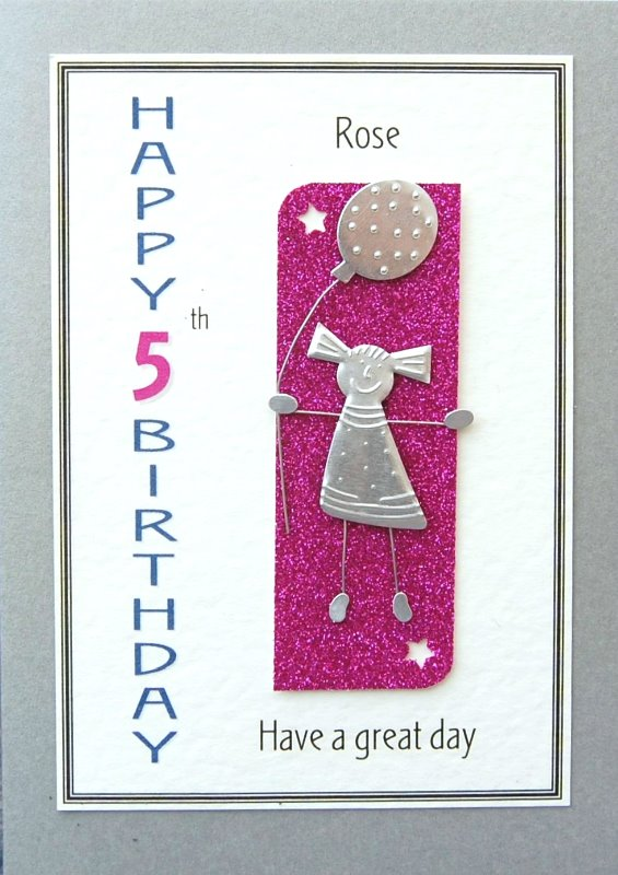 Personalised Birthday Card - Girls & Balloon