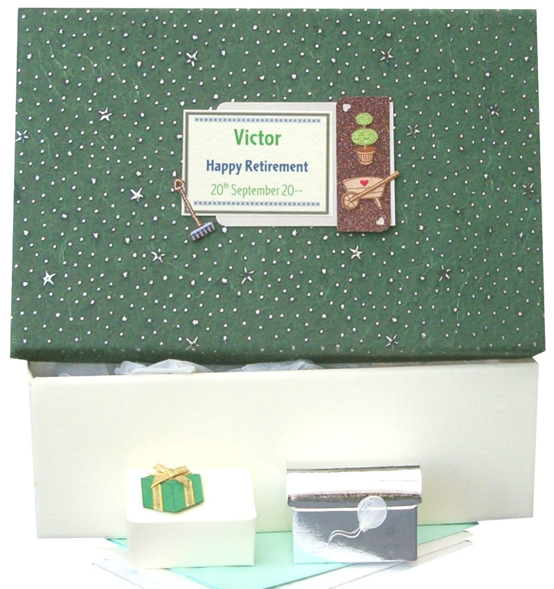 Personalised Retirement Keepsake Box Green Stars with Topiary Motif