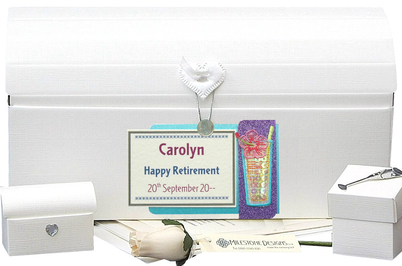 Personalised Retirement Keepsake Chest with Cocktail Motif