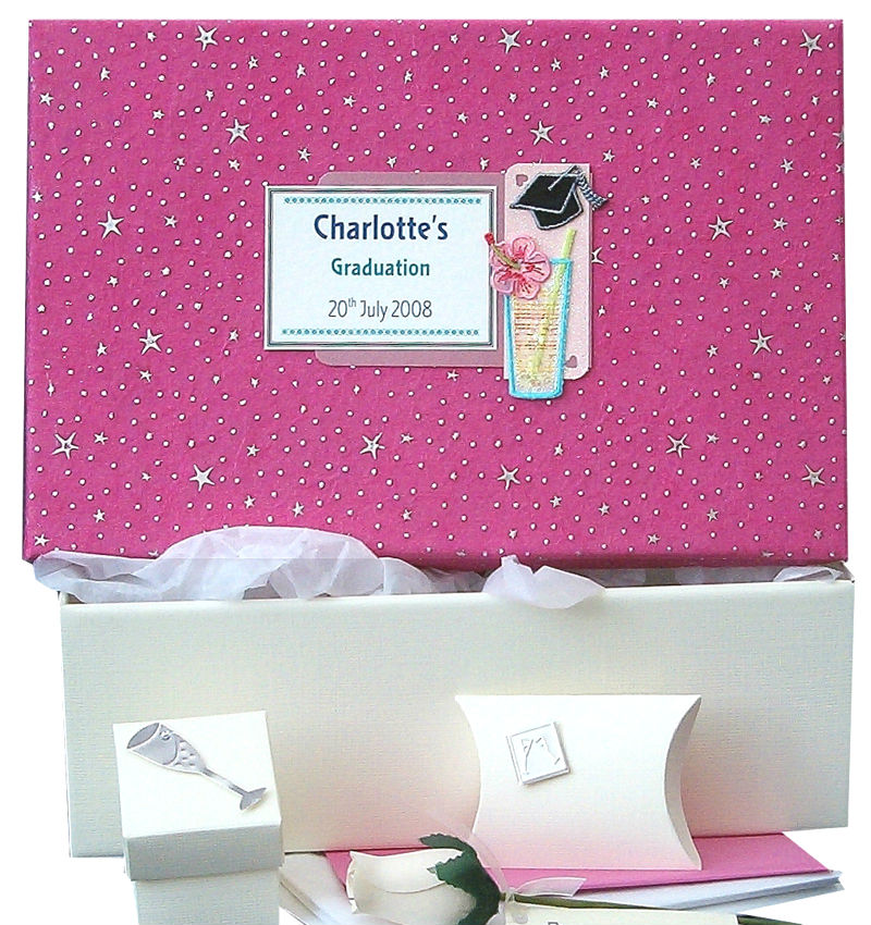 Personalised Graduation Keepsake Box Pink Stars with Cocktail Motif
