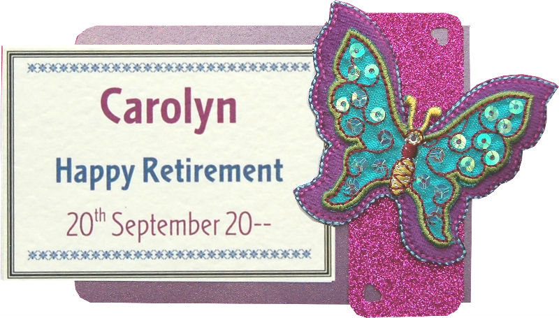 Retirement Sequin Butterfly Motif