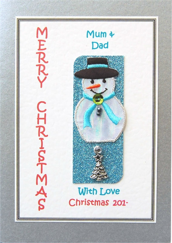 Personalised Christmas Card - Embroidered Snowman